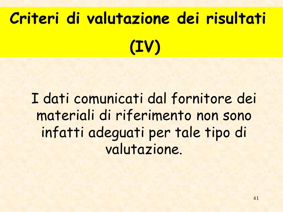 Criteri di valutazione dei risultati (IV)