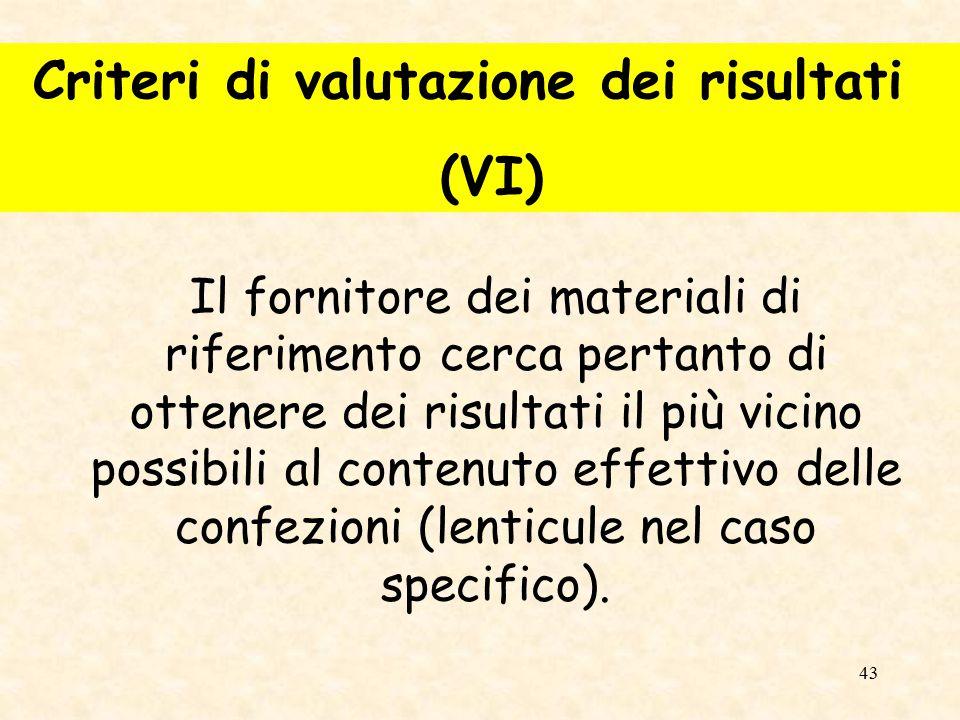 Criteri di valutazione dei risultati (VI)