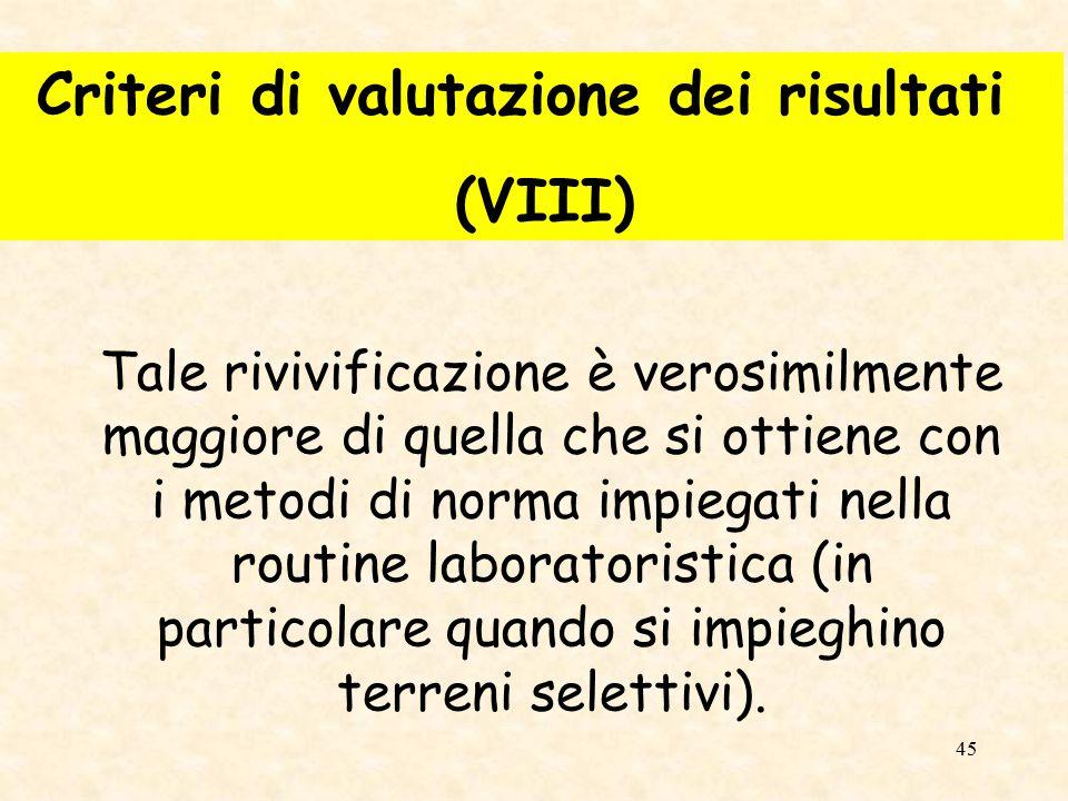 Criteri di valutazione dei risultati (VIII)