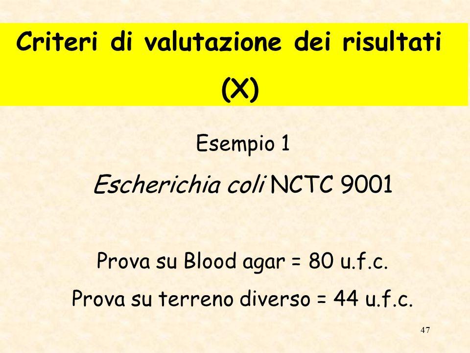 Criteri di valutazione dei risultati (X)