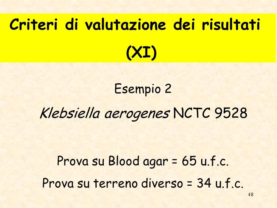 Criteri di valutazione dei risultati (XI)