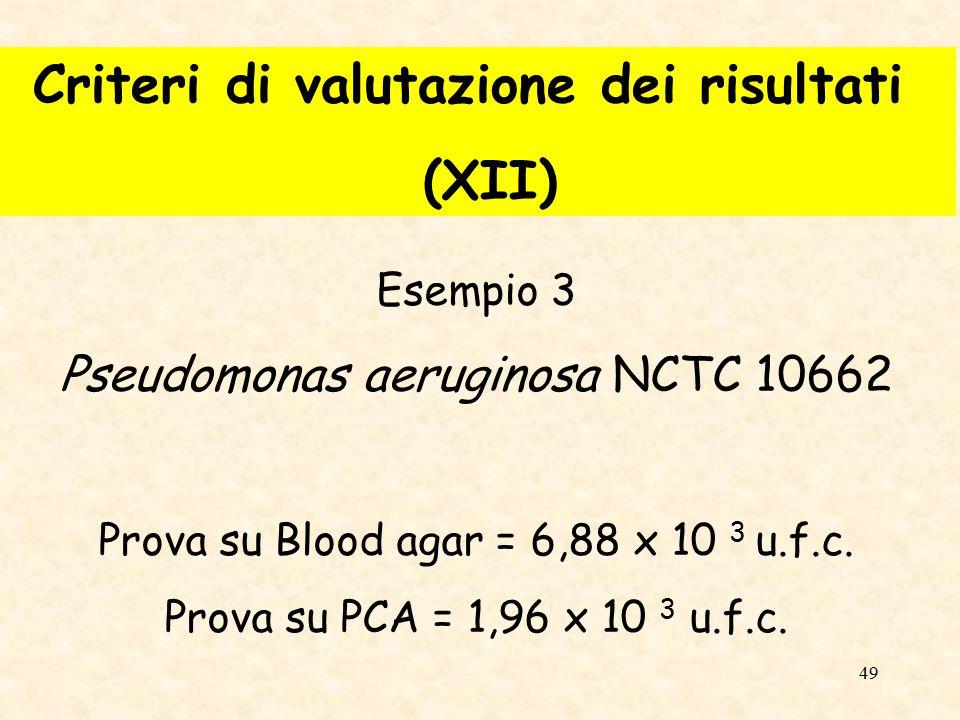 Criteri di valutazione dei risultati (XII)