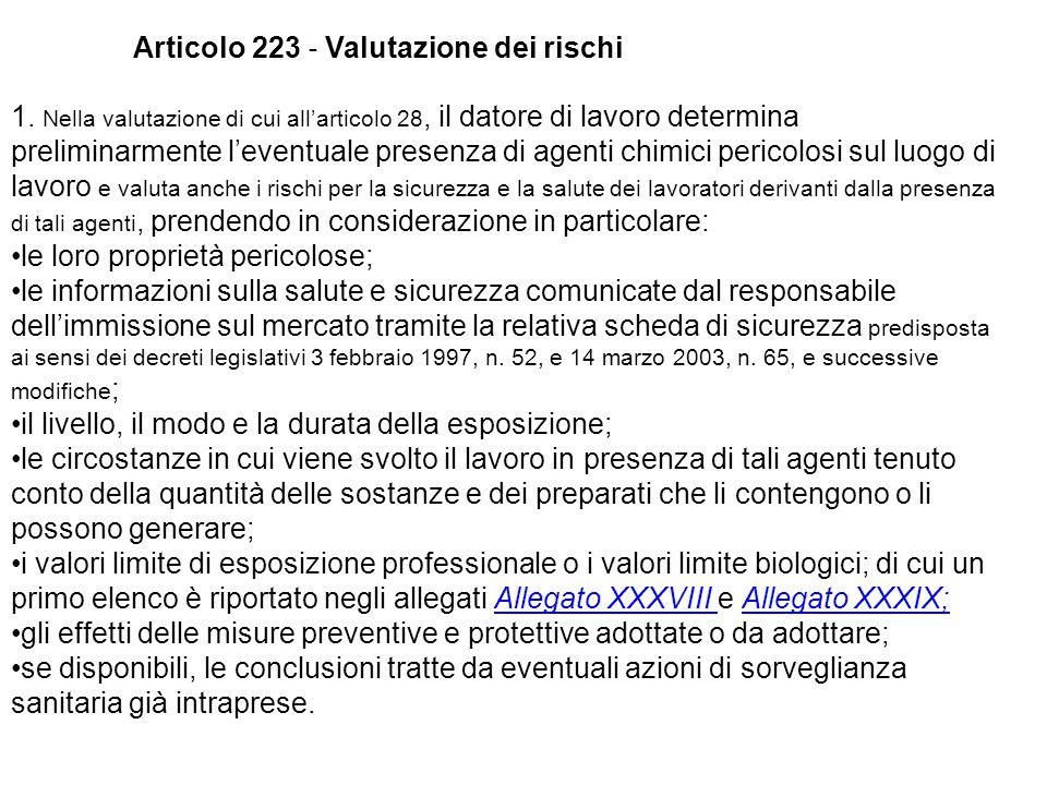 Articolo 223 ‐ Valutazione dei rischi