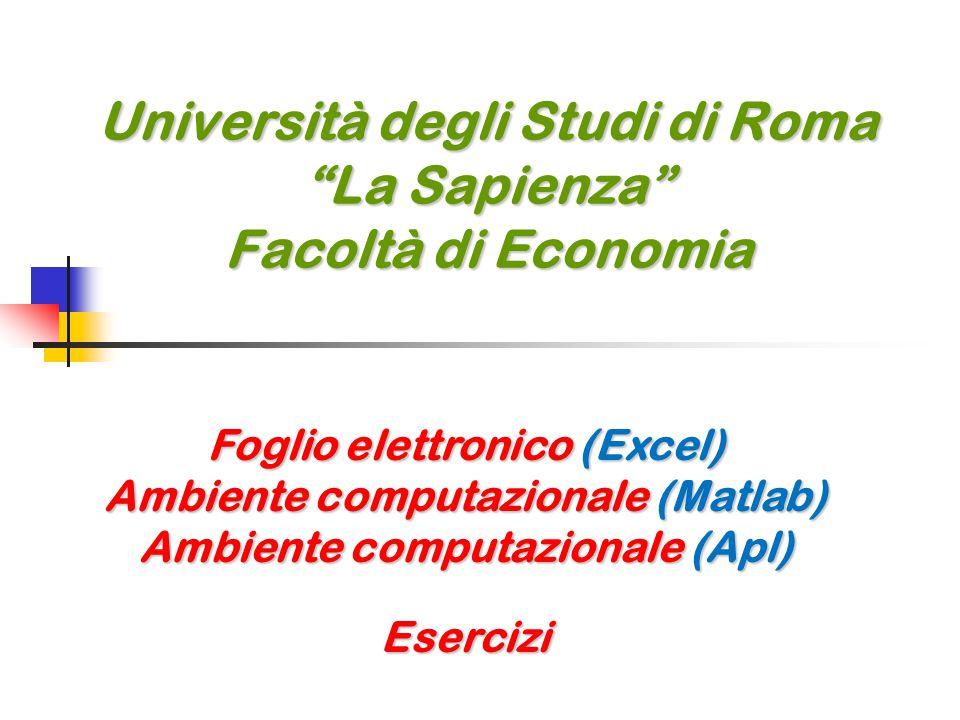 Università degli Studi di Roma La Sapienza Facoltà di Economia