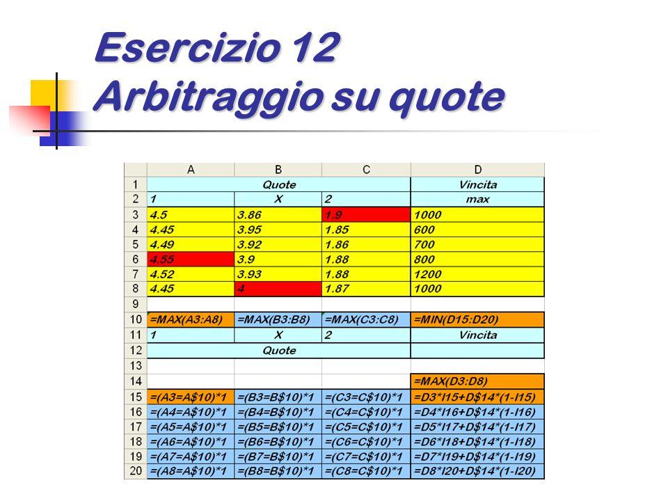 Esercizio 12 Arbitraggio su quote