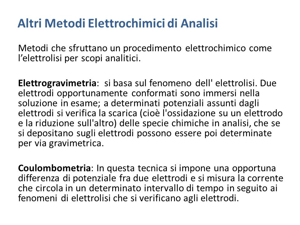 Altri Metodi Elettrochimici di Analisi