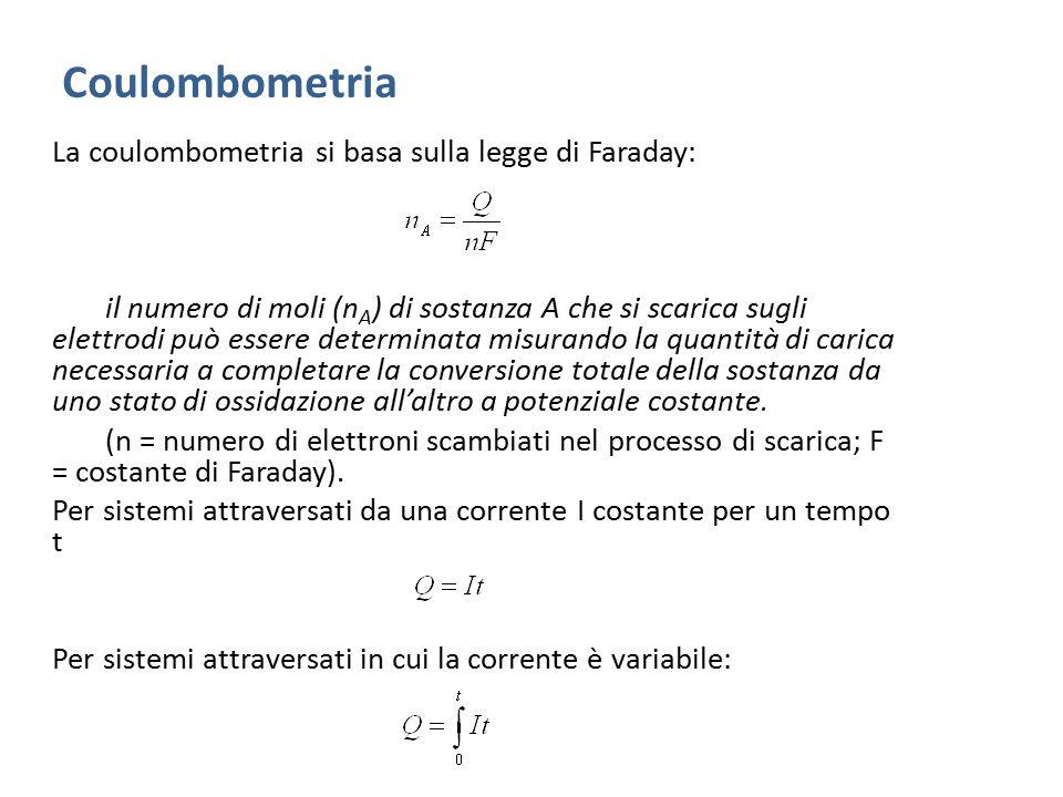 Coulombometria La coulombometria si basa sulla legge di Faraday: