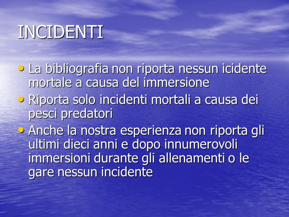 INCIDENTI La bibliografia non riporta nessun icidente mortale a causa del immersione. Riporta solo incidenti mortali a causa dei pesci predatori.