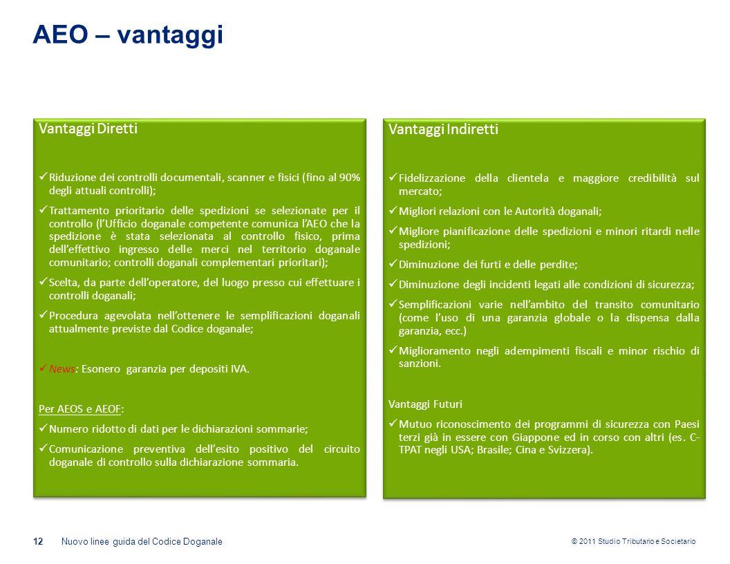 AEO – vantaggi Vantaggi Diretti Vantaggi Indiretti