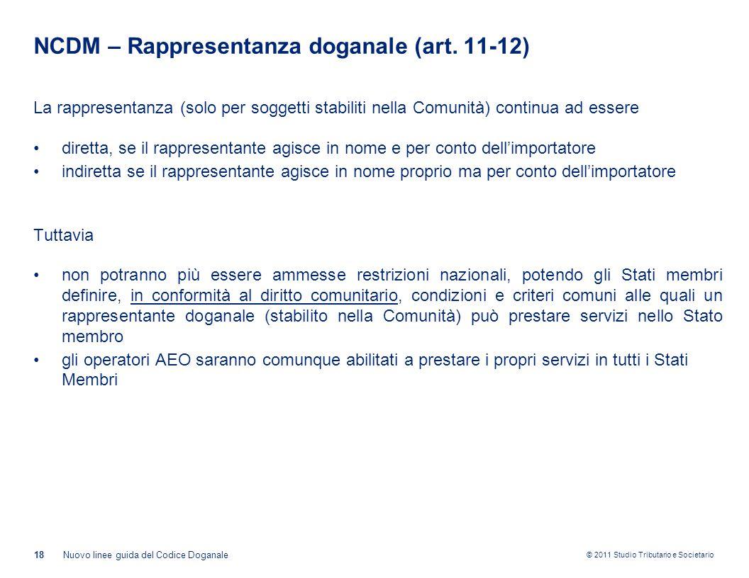 NCDM – Rappresentanza doganale (art. 11-12)