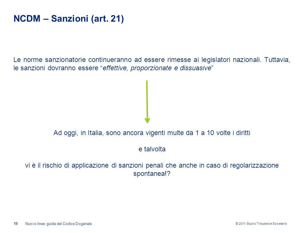 NCDM – Sanzioni (art. 21)