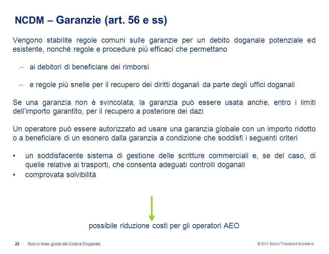NCDM – Garanzie (art. 56 e ss)