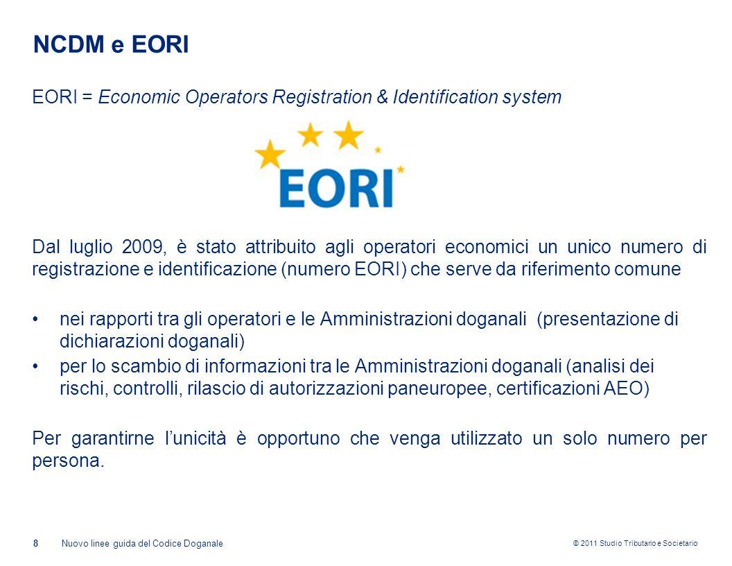 NCDM e EORI EORI = Economic Operators Registration & Identification system.