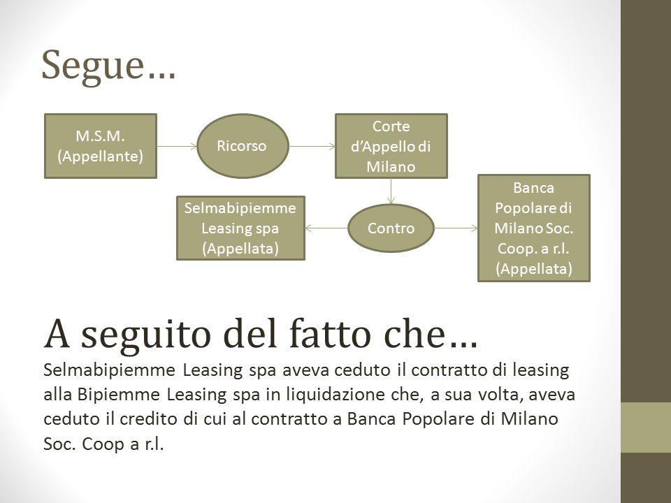 Segue… M.S.M. (Appellante) Ricorso. Corte d'Appello di Milano. Banca Popolare di Milano Soc. Coop. a r.l. (Appellata)