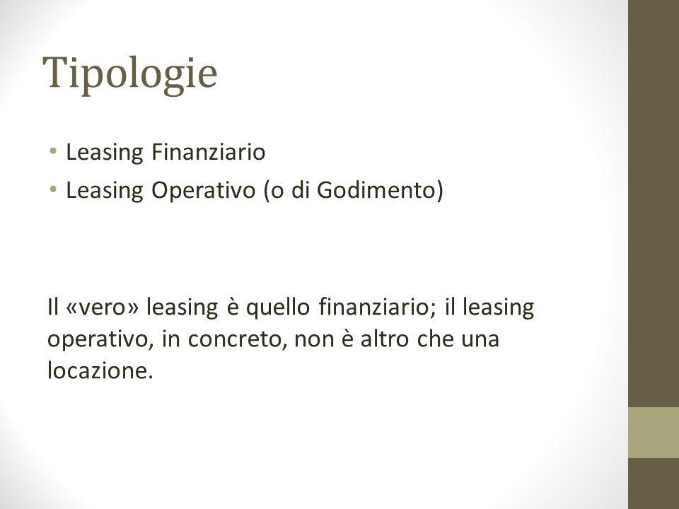 Tipologie Leasing Finanziario Leasing Operativo (o di Godimento)