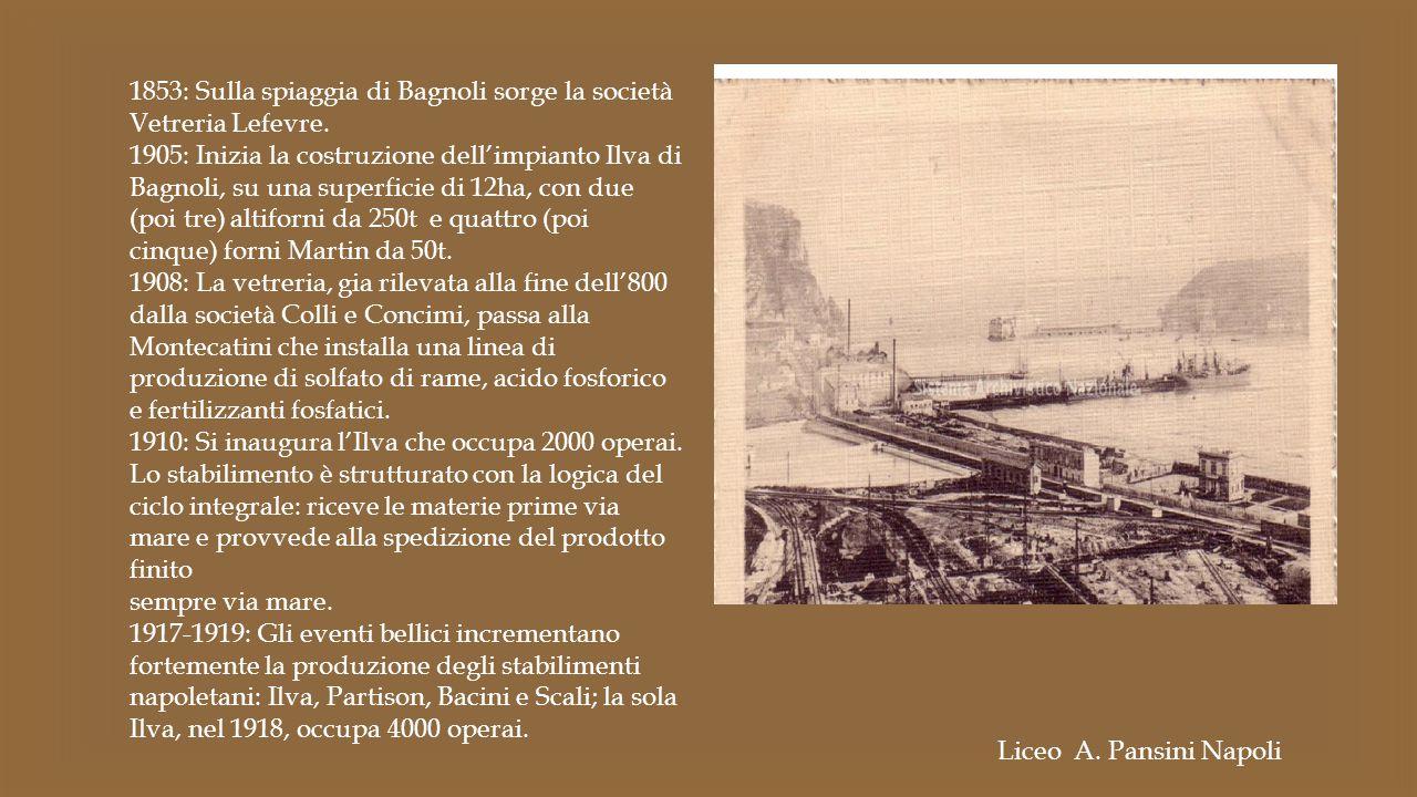 1853: Sulla spiaggia di Bagnoli sorge la società Vetreria Lefevre.