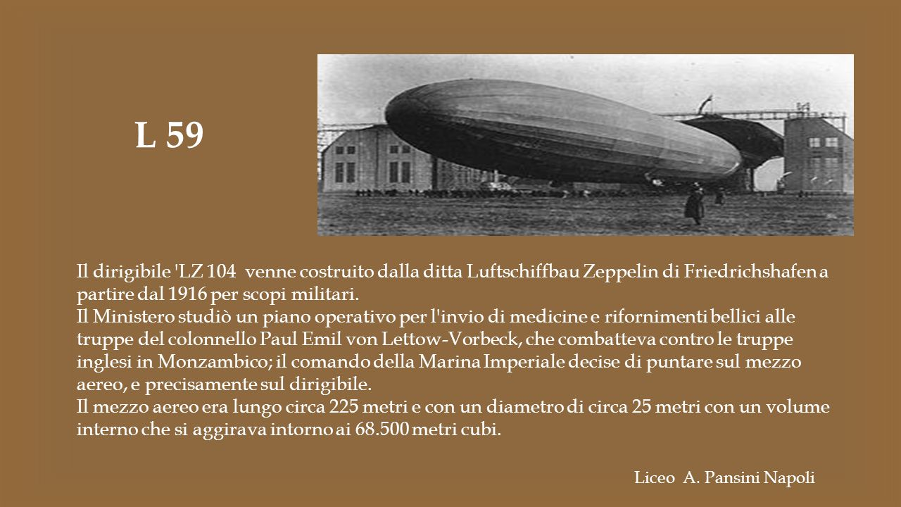 L 59 Il dirigibile LZ 104 venne costruito dalla ditta Luftschiffbau Zeppelin di Friedrichshafen a partire dal 1916 per scopi militari.