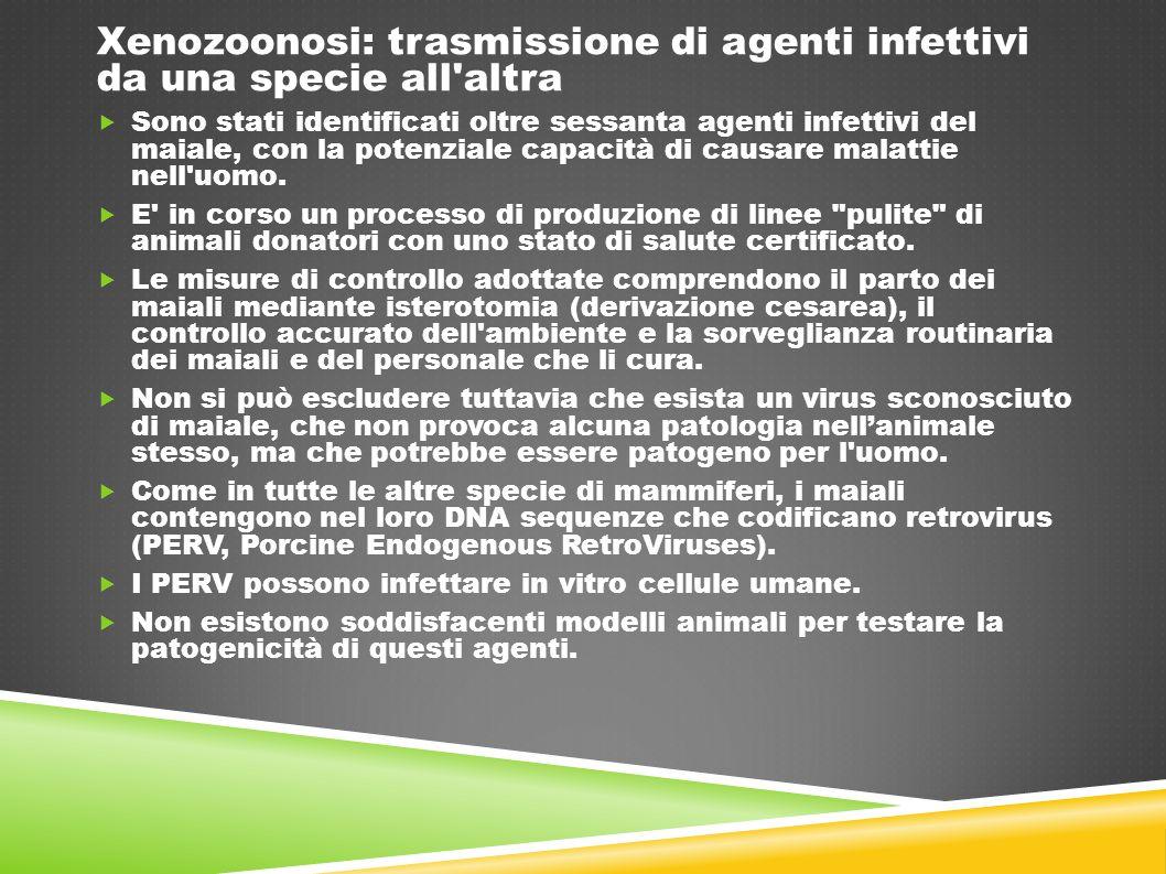 Xenozoonosi: trasmissione di agenti infettivi da una specie all altra