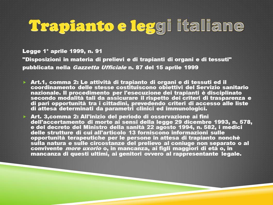 Trapianto e leggi italiane