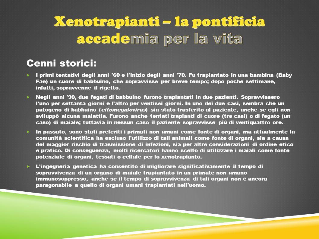 Xenotrapianti – la pontificia accademia per la vita