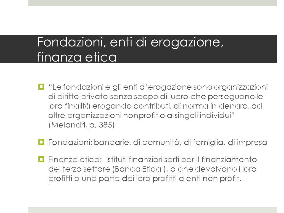 Fondazioni, enti di erogazione, finanza etica