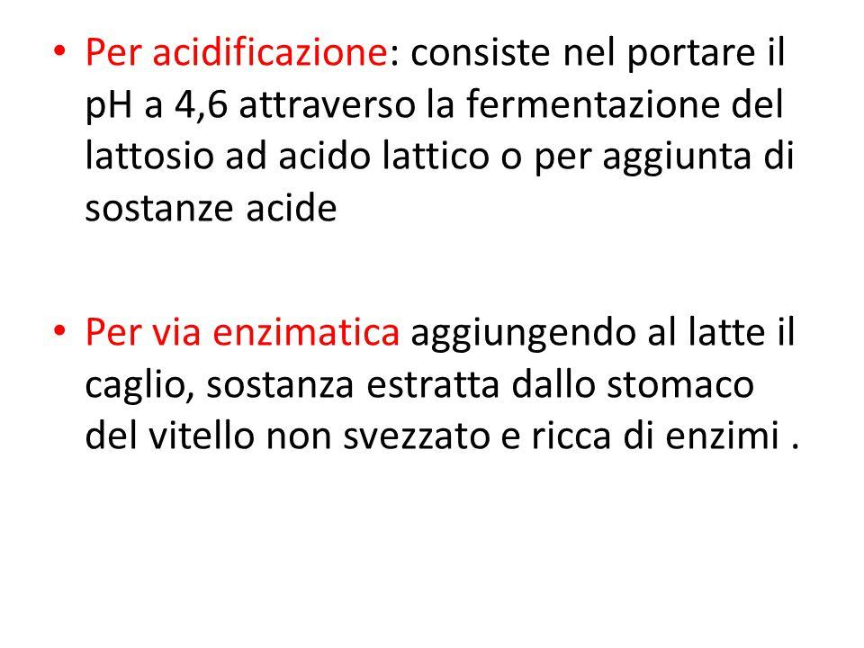 Per acidificazione: consiste nel portare il pH a 4,6 attraverso la fermentazione del lattosio ad acido lattico o per aggiunta di sostanze acide