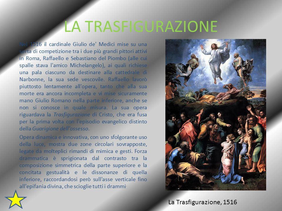 LA TRASFIGURAZIONE La Trasfigurazione, 1516
