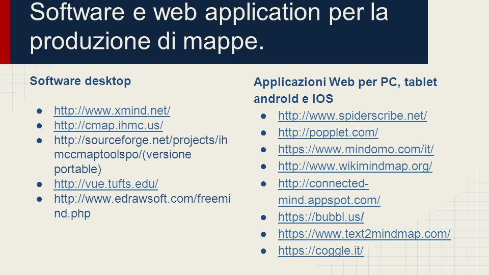 Software e web application per la produzione di mappe.