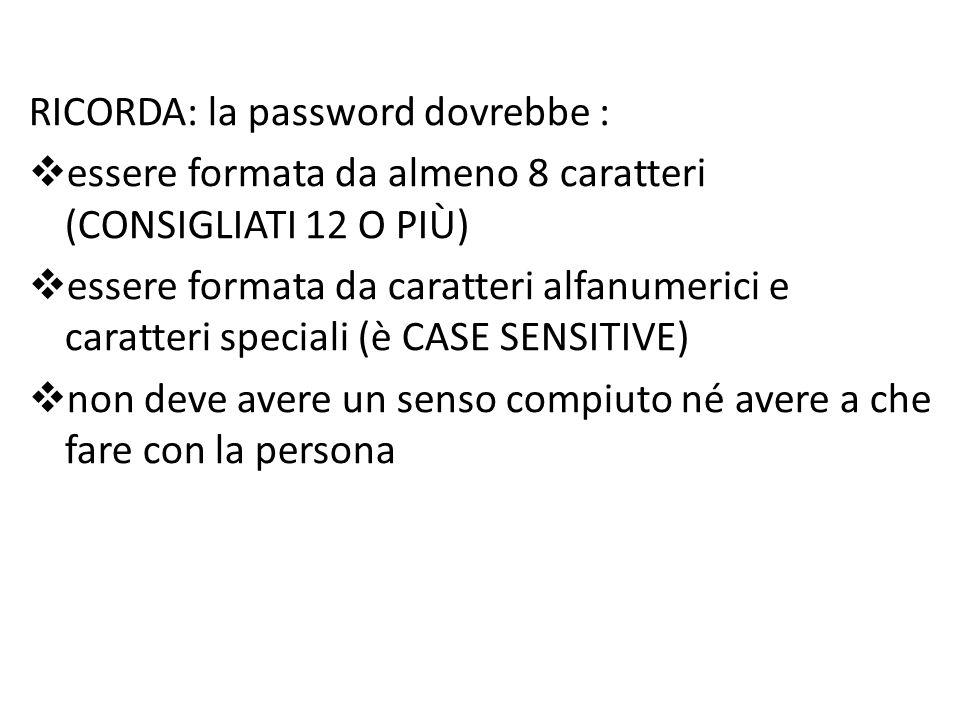RICORDA: la password dovrebbe :