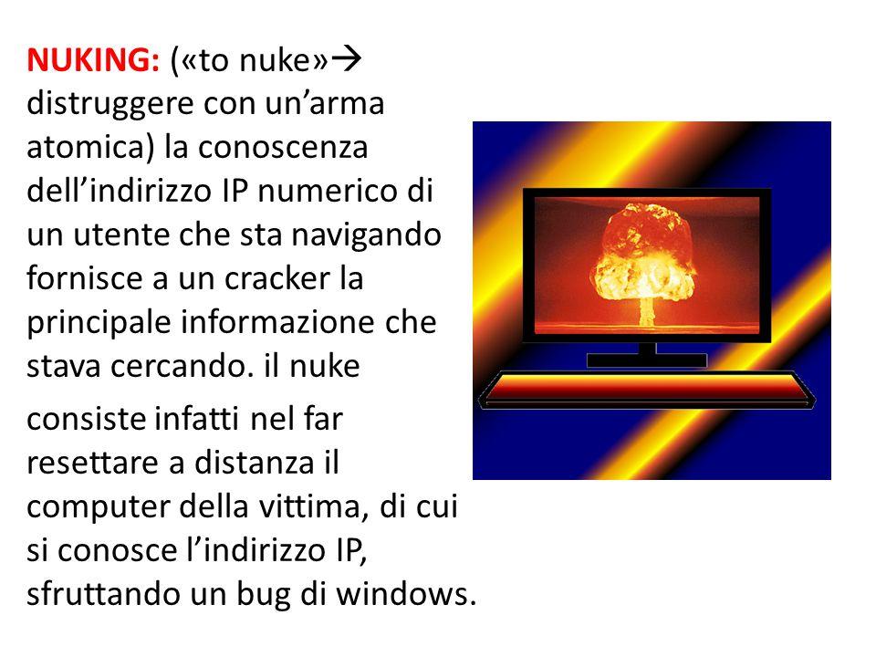 NUKING: («to nuke» distruggere con un'arma atomica) la conoscenza dell'indirizzo IP numerico di un utente che sta navigando fornisce a un cracker la principale informazione che stava cercando.