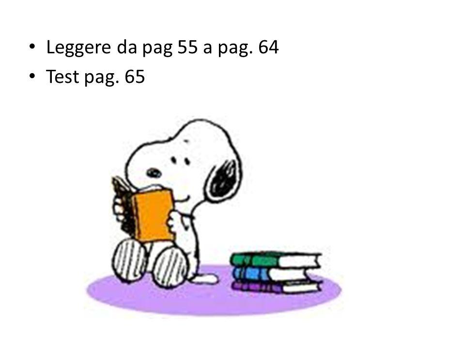 Leggere da pag 55 a pag. 64 Test pag. 65