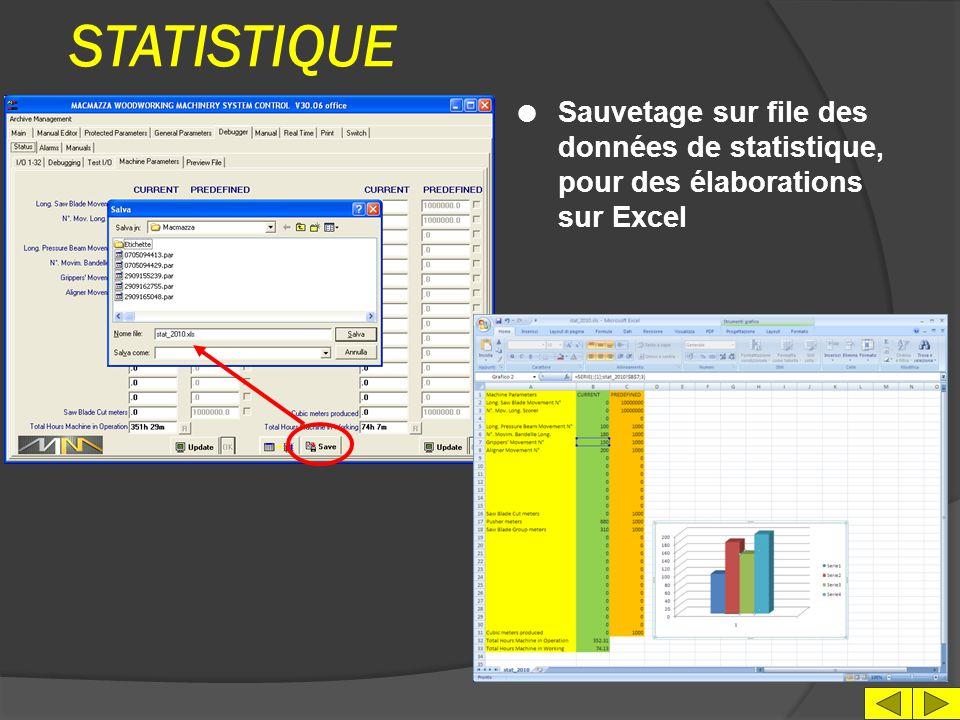 STATISTIQUE Sauvetage sur file des données de statistique, pour des élaborations sur Excel