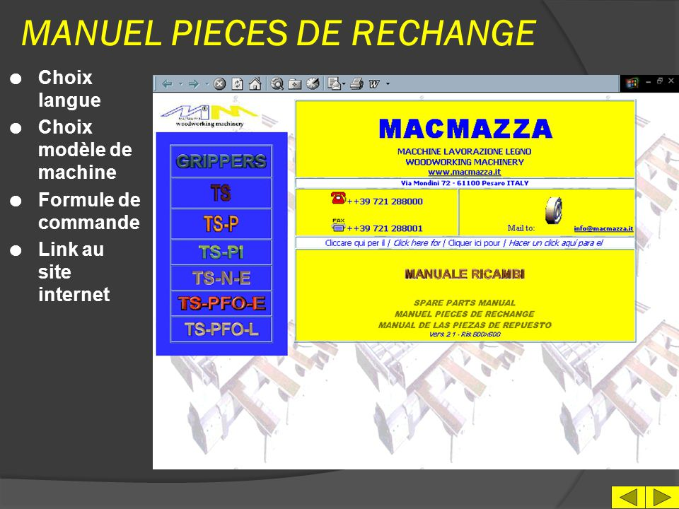 MANUEL PIECES DE RECHANGE