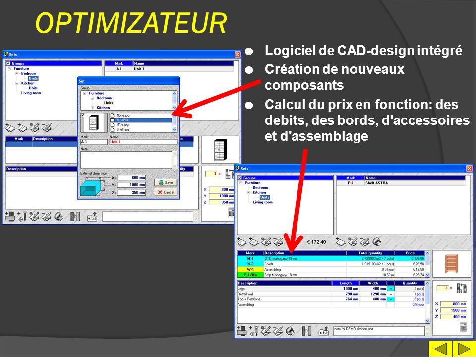OPTIMIZATEUR Logiciel de CAD-design intégré