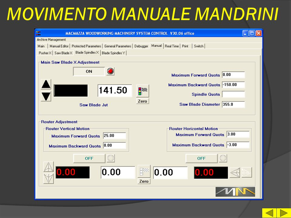 MOVIMENTO MANUALE MANDRINI
