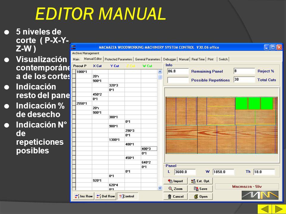 EDITOR MANUAL 5 niveles de corte ( P-X-Y-Z-W )