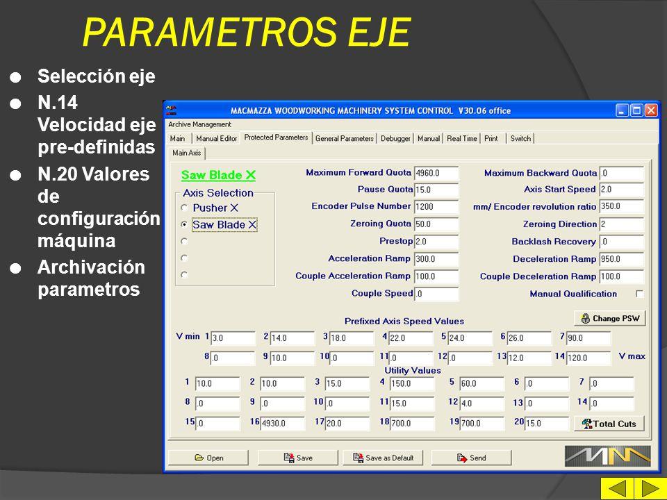 PARAMETROS EJE Selección eje N.14 Velocidad eje pre-definidas