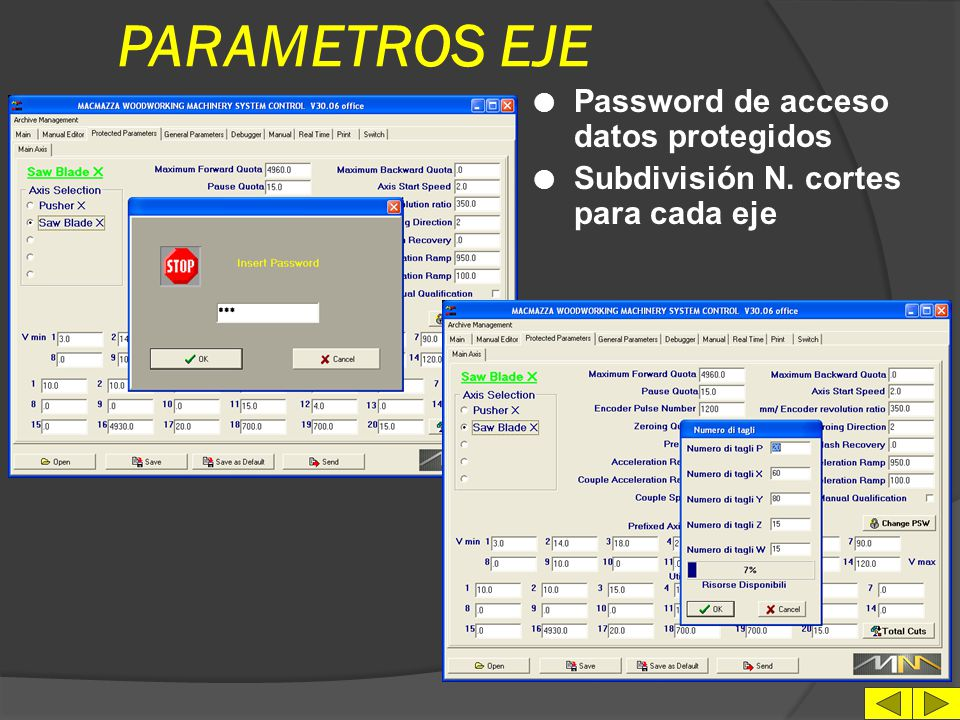 PARAMETROS EJE Password de acceso datos protegidos