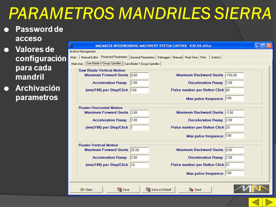 PARAMETROS MANDRILES SIERRA