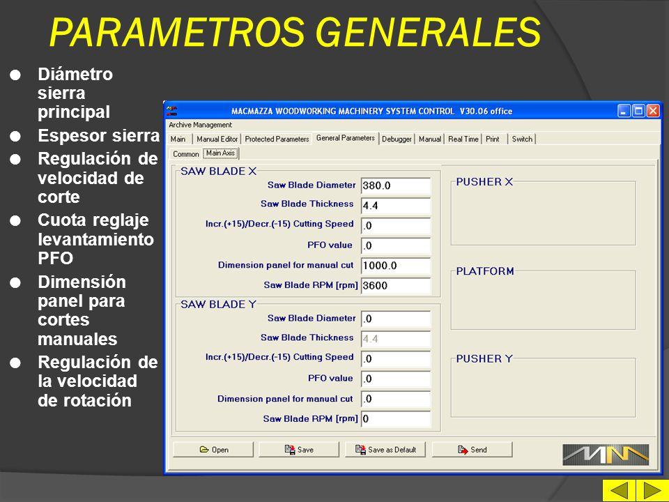 PARAMETROS GENERALES Diámetro sierra principal Espesor sierra