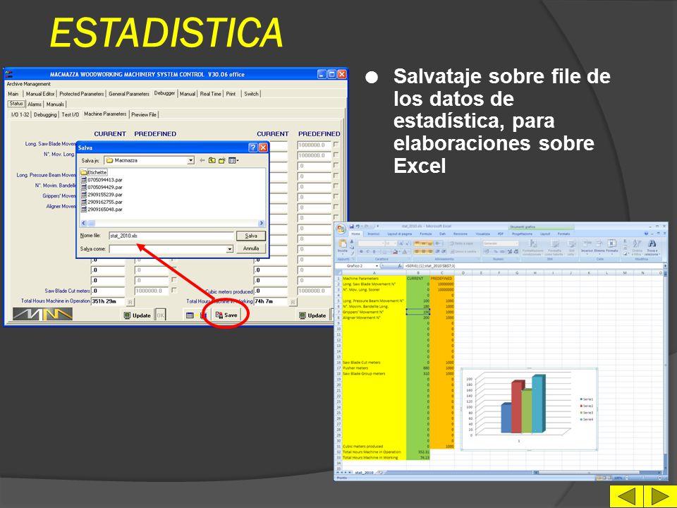 ESTADISTICA Salvataje sobre file de los datos de estadística, para elaboraciones sobre Excel