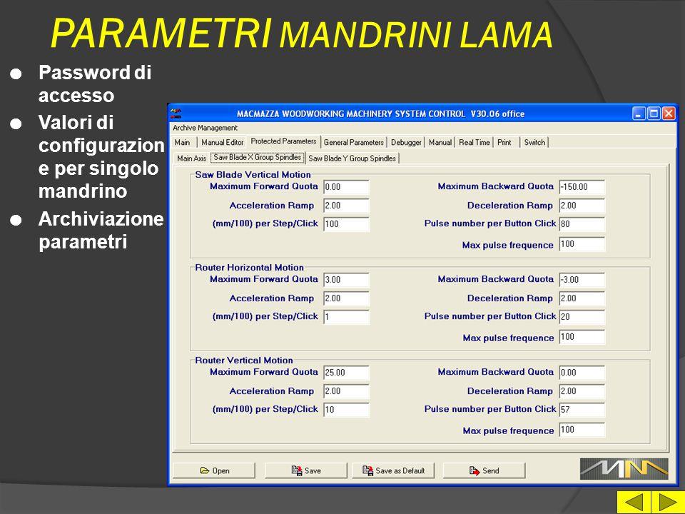 PARAMETRI MANDRINI LAMA