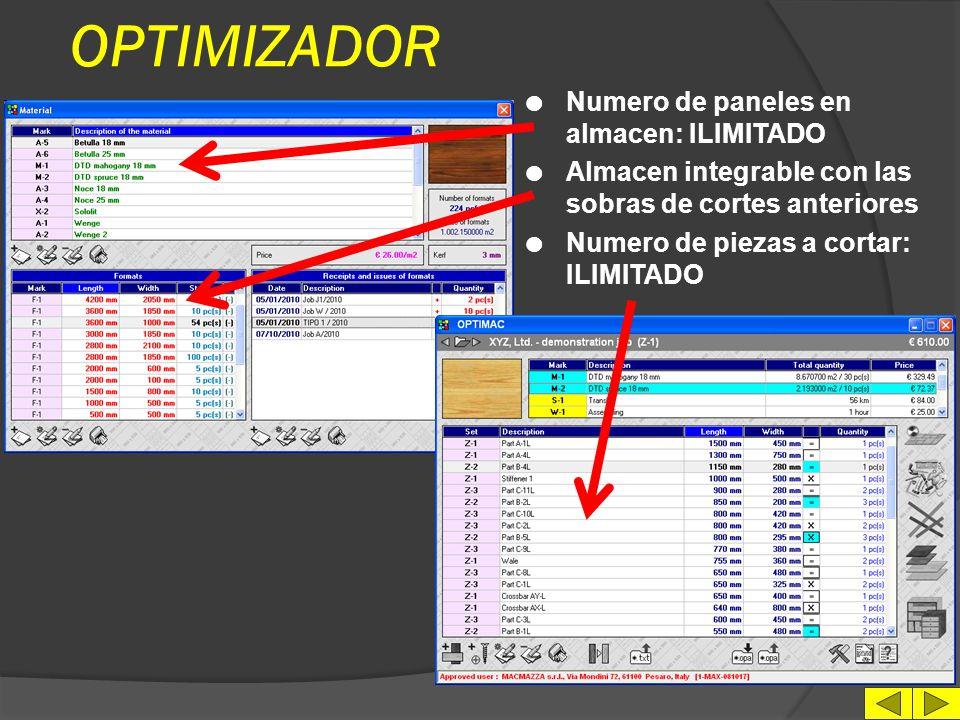 OPTIMIZADOR Numero de paneles en almacen: ILIMITADO
