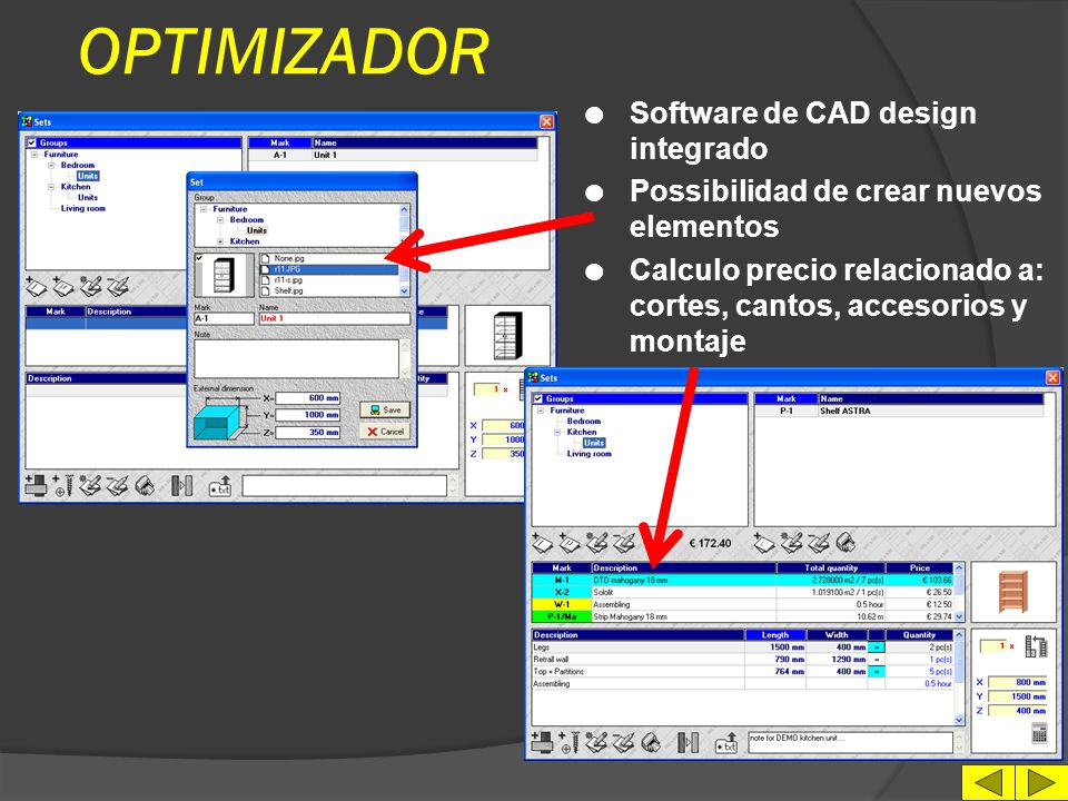 OPTIMIZADOR Software de CAD design integrado