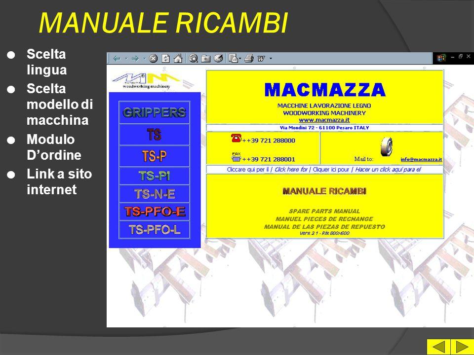 MANUALE RICAMBI Scelta lingua Scelta modello di macchina