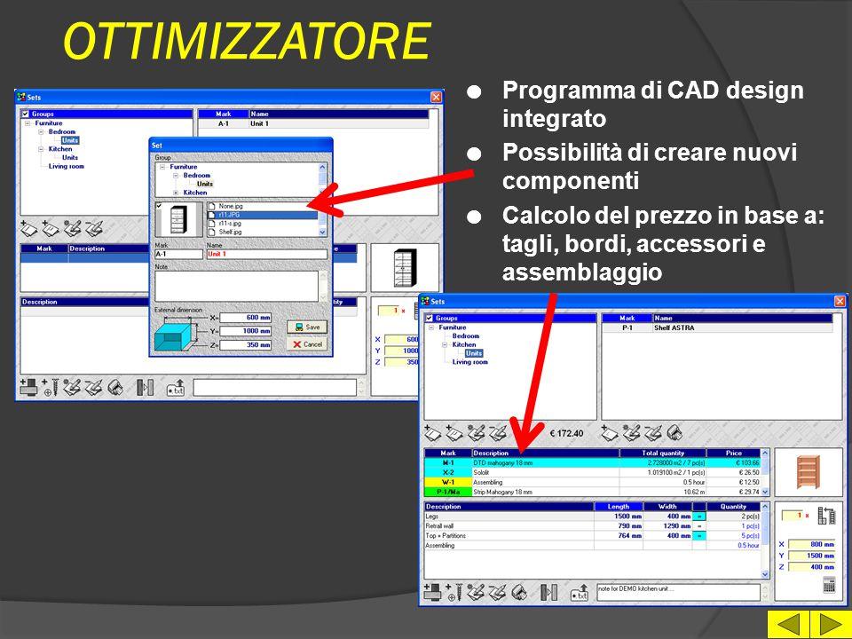 OTTIMIZZATORE Programma di CAD design integrato