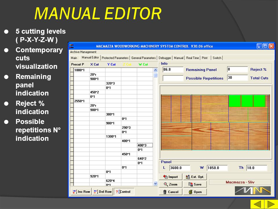 MANUAL EDITOR 5 cutting levels ( P-X-Y-Z-W )