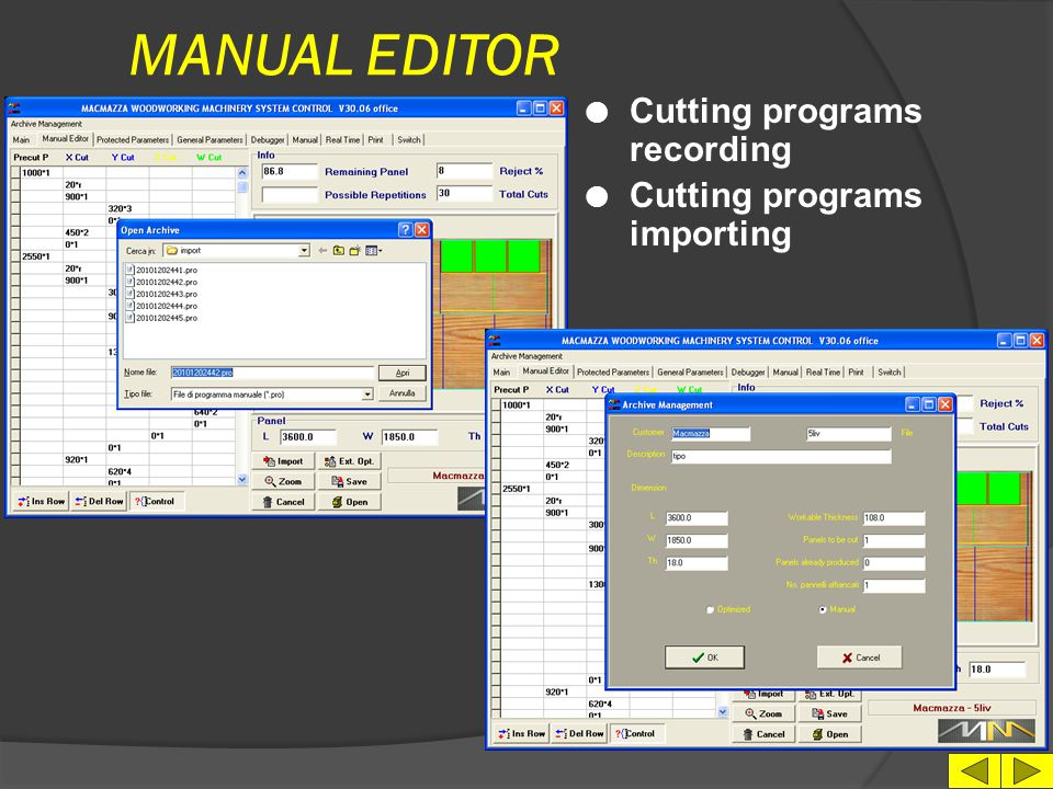 MANUAL EDITOR Cutting programs recording Cutting programs importing