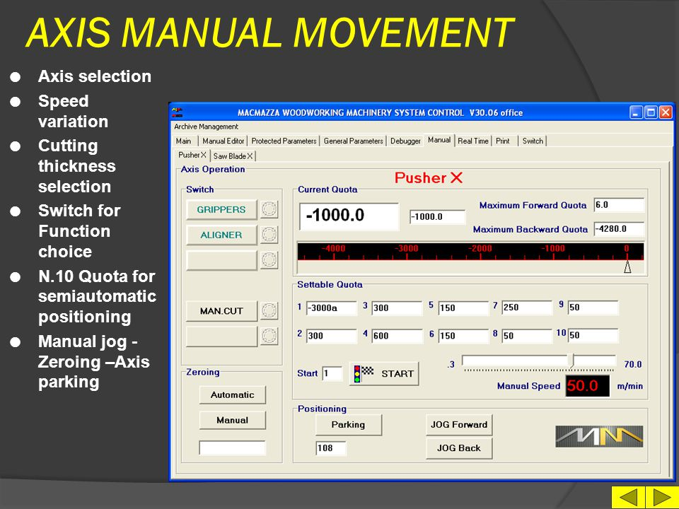 AXIS MANUAL MOVEMENT Axis selection Speed variation