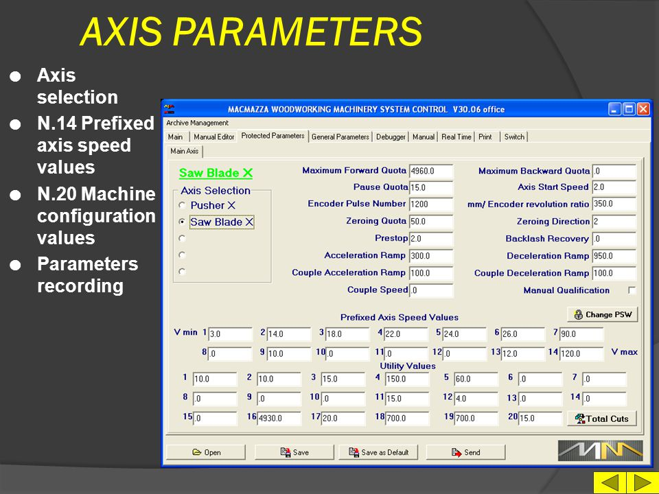 AXIS PARAMETERS Axis selection N.14 Prefixed axis speed values
